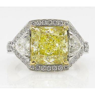 GIA 5.84ct Estate Vintage Fancy Yellow Cushion Diamond Three Stone Engagement Wedding Platinum Ring