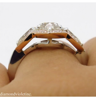 RESERVED... 4.03ct Estate Vintage Marquise Diamond 3 Stone Engagement Wedding 14k Gold Ring EGL USA