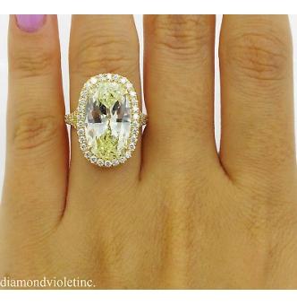 7.09ct Estate Vintage Fancy Yellow Oval Diamond Halo Engagement Wedding 18k Yellow Gold Ring EGL USA