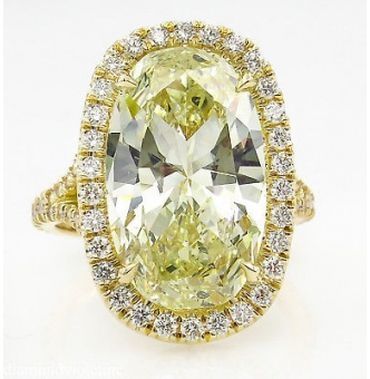 7.09ct Estate Vintage Fancy Yellow Oval Diamond Halo Engagement Wedding 18k Yellow Gold Ring EGL USA