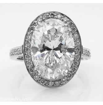 GIA 5.54ct Estate Vintage Oval Diamond Halo Engagement Wedding Platinum Ring