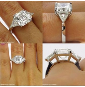 GIA 5.35ct Estate Vintage Asscher Diamond 3 Stone Engagement Wedding Platinum Ring