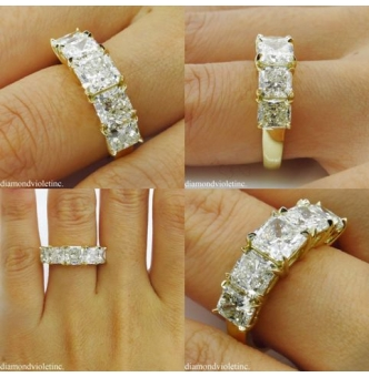 4.07ct Estate Vintage Radiant Diamond 5 Stone Engagement Wedding 18k Yellow Gold Band Ring