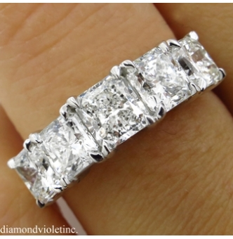 GIA 3.16ct Estate Vintage Radiant Diamond Engagement Wedding Platinum Ring