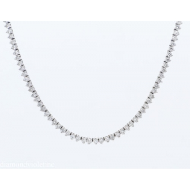 7.50ct Estate Vintage Round Diamond Tennis Necklace in 14k White Gold