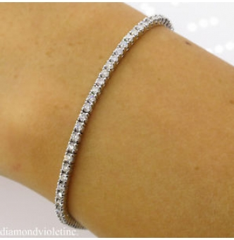 2.50ct Estate Vintage Round Diamond Tennis Bracelet in 14k White Gold