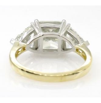 GIA Shy 5.00ct Estate Vintage Radiant Diamond 3 Stone Engagement Wedding Plat/ 18k Yellow Gold Ring