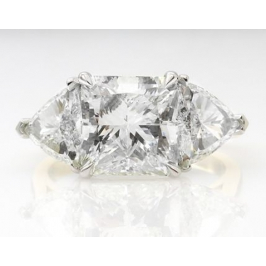 GIA Shy 5.00ct Estate Vintage Radiant Diamond 3 Stone Engagement Wedding Plat/ 18k Yellow Gold Ring