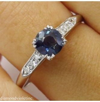 0.80ct Antique Vintage Art Deco Blue Sapphire Diamond Engagement Wedding Platinum Ring