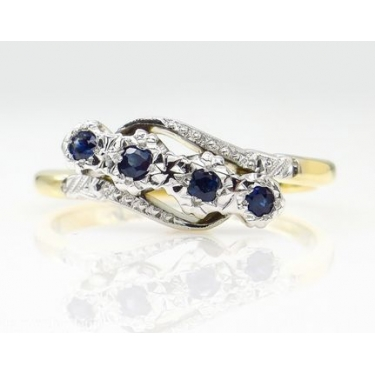 0.18ct Antique Vintage Blue Sapphire Four Stone Engagement Wedding 18k Two Tone Gold Ring