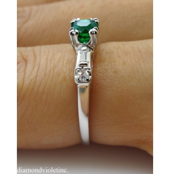 0.50ct Antique Vintage Art Deco Green Emerald Diamond Engagement Wedding 14k White Gold Ring