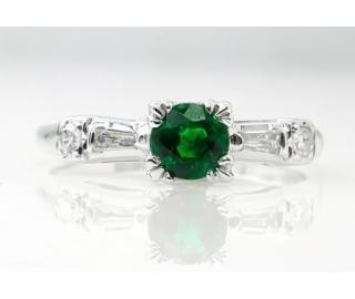 0.50ct Antique Vintage Art Deco Green Emerald Diamond Engagement Wedding 14k White Gold Ring