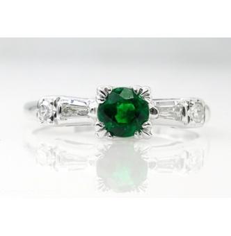 RESERVED... 0.50ct Antique Vintage Art Deco Green Emerald Diamond Engagement Wedding 14k White Gold Ring