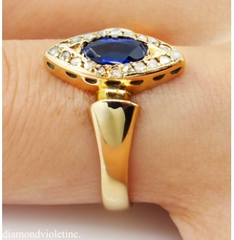 0.73ct Antique Vintage Victorian Sapphire and Diamond Engagement Wedding 18k Yellow Gold Ring