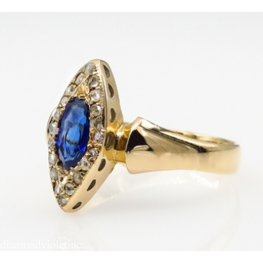RESERVED.. 0.73ct Antique Vintage Victorian Sapphire and Diamond Engagement Wedding 18k Yellow Gold Ring