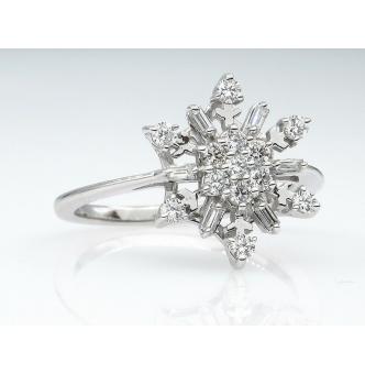 0.50ct Estate Vintage Diamond Snowflake Cluster Engagement Ring 14k White Gold