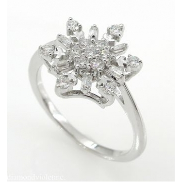 0.50ct Estate Vintage Diamond Snowflake Cluster Engagement Ring 14k White Gold