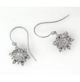 1.00ct Estate Vintage Diamond Snowflake Drop Earrings 14k White Gold