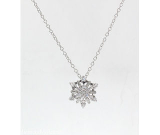 0.50ct Estate Vintage Diamond Snowflake Necklace 14k White Gold