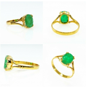 1.23ct Vintage Green Emerald Solitaire Engagement Ring 9k Yellow Gold