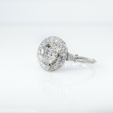 GIA 1.57ct Estate Vintage Round Diamond Halo Engagement Wedding Platinum Ring