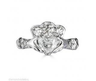 GIA 1.43ct Estate Vintage Heart Diamond Claddagh Engagement Wedding Platinum Ring