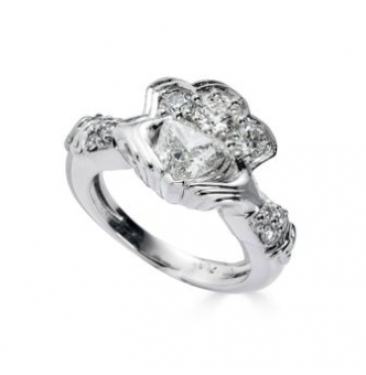 GIA 1.43ct Estate Vintage Heart Diamond Claddagh Engagement Wedding Platinum Ring