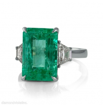GIA 8.48ct Estate Vintage Colombian Green Emerald Diamond 3 Stone Engagement Wedding Platinum Ring