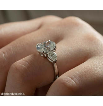 RESERVED... GIA 4.01ct Estate Vintage Oval Diamond 3 Stone Engagement Wedding Platinum Ring