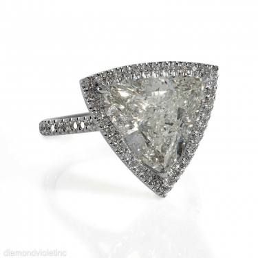 GIA 6.01ct Estate Vintage Trillion Diamond Halo Engagement Weeding Platinum Ring