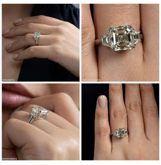 GIA Shy 5 ct Estate Vintage Asscher Diamond 3 Stone Enagagement Wedding Platinum Ring