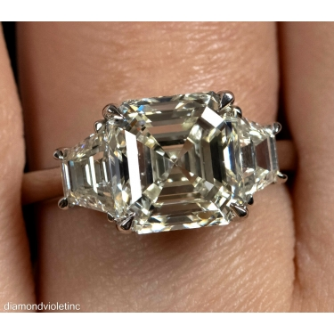 GIA Shy 5 ct Estate Vintage Asscher Diamond 3 Stone Enagagement Wedding Platinum Ring