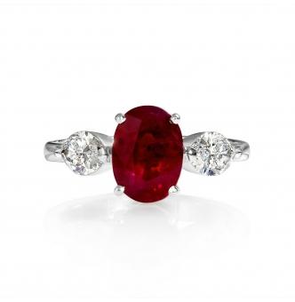 GIA 4.02ct Estate Vintage BURMA Red Ruby Diamond 3 Stone Engagement Wedding White Gold Ring