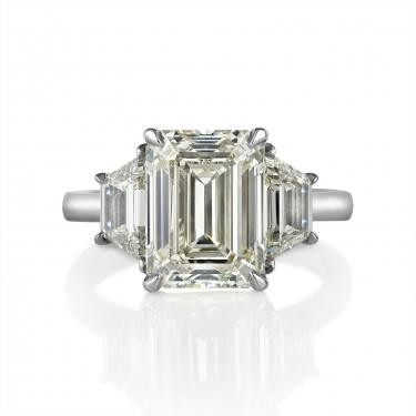 GIA 5.01ct Estate Vintage Emerald cut Diamond 3 Stone Engagement Wedding Platinum Ring