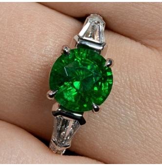 GIA 4.52ct Green Tsavorite Diamond Three Stone Engagement Wedding Platinum Ring