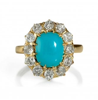 GIA 3.60ct Authentic Antique Victorian Turquoise Diamond Cluster Cocktail 18k Yellow Gold Ring
